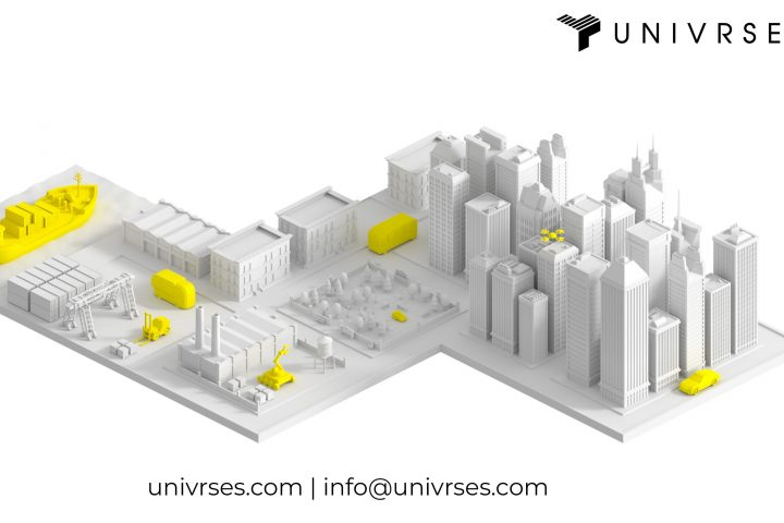 Illustration of city with Univrses logo
